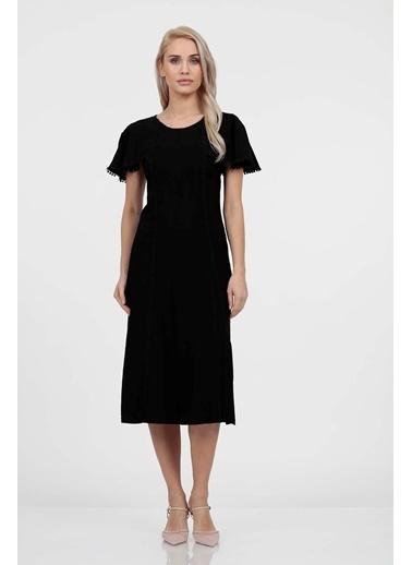 Vitrin Kelebek Kol Kup Kesimli Elbise Siyah